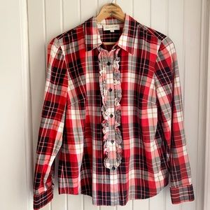 Jones NY Red Plaid Flannel Button Down Top